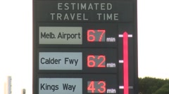 Estimated travel time Signage (Close up) Stock Footage