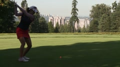 LPGA 2012, Vancouver Golf Club, drive, hole #1 Stock Footage