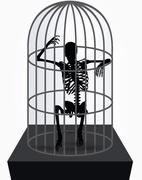 Stock Illustration of skeleton silhouette in sitting in cage