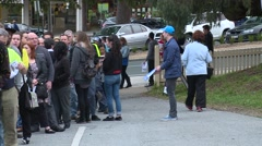 Long line people waiting Stock Footage