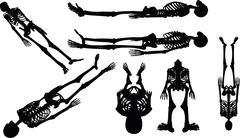 Stock Illustration of skeleton silhouette in supine pose