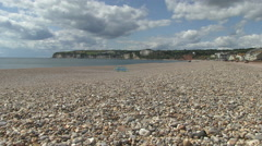 Low Angle of Seaton Pebbly Beach in Devon - stock footage