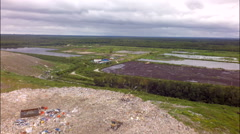 Big garbage dump aerial view Stock Footage