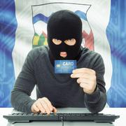 Hacker with Canadian province flag on background - Northwest Territories Hack - stock photo