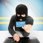 Cybercrime concept with national flag on background - Aruba - stock photo