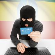 Cybercrime concept with national flag on background - Ethiopia - stock photo