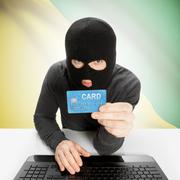 Cybercrime concept with national flag on background - French Guiana - stock photo