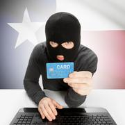 Cybercrime concept with US states flags on background - Texas - stock photo
