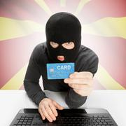 Stock Photo of Cybercrime concept with national flag on background - Macedonia