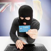 Cybercrime concept with national flag on background - Turks and Caicos Island - stock photo