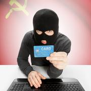 Stock Photo of Cybercrime concept with national flag on background - Soviet Union - USSR