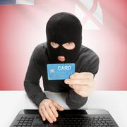 Cybercrime concept with national flag on background - Wallis and Futuna - stock photo