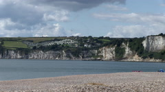 Seaton Beach and Bay Chalk Cliffs in Devon Stock Footage