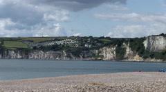 Seaton Beach and Bay Chalk Cliffs in Devon - stock footage