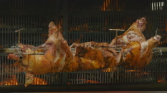 Mouth-watering pork on the skewer Stock Footage