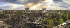 Chernobyl - Wide angle view of Pripyat - stock photo