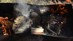 Closeup fire flame in brazier Stock Footage
