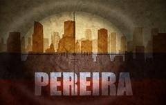 Stock Illustration of sniper scope aimed at the abstract silhouette of the city with text Pereira a