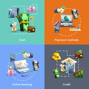Banking and payment icons set Stock Illustration