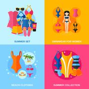 Stock Illustration of Swimwear Decorative Icon Set