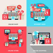 Stock Illustration of Internet Shopping Decorative Icon Set