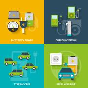 Stock Illustration of Electric Car Decorative Icon Set