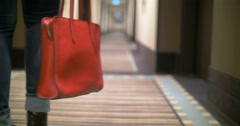 Red Bag in Female Hands Stock Footage