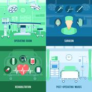 Surgery 4 flat square icons banner Stock Illustration