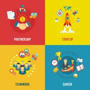 Business startup 4 flat icons square - stock illustration