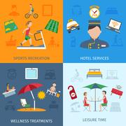 Hotel Services Set - stock illustration