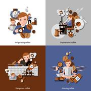 Coffee And Relax Icons Set - stock illustration