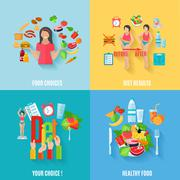 Diet 4 flat icons square banner Stock Illustration