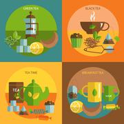 Tea time 4 flat icons square composition Piirros