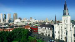 Aerial view pan from Saint Louis Cathedral to downtown New Orleans Arkistovideo
