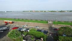 Aerial view from french quarter to trolley cars at mississippi river new orleans Stock Footage