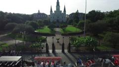 Aerial view push into jackson square new orleans Stock Footage