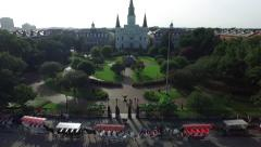 Aerial view crane down of Jackson square new orleans Stock Footage