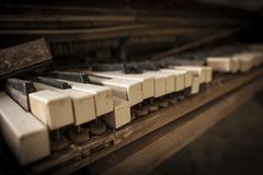 Chernobyl - close-up of an old piano - stock photo
