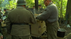 WWII German Field Kitchen serving food 2 Stock Footage