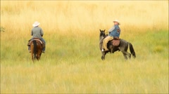 Two Cowboys Riding off - stock footage