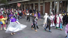Costume Parade during Mardi Gras Stock Footage