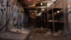 Abandoned Building sleeping area for homeless Stock Footage