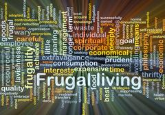 Frugal living background concept glowing - stock illustration