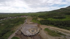 View of the Golden Circle Geyser erupting from an aerial view at 50 mts Stock Footage