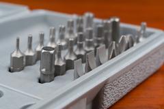 Precision screwdriver set toolkit close up - stock photo