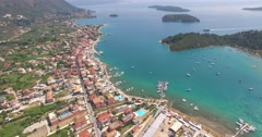 Aerial view of city Nidri at Lefkada island Stock Footage