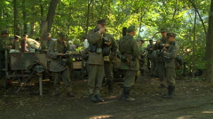 WWII German Field Kitchen serving food to soldiers 6 Stock Footage