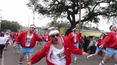 Mardi Gras Day Parade - Male dancers - stock footage