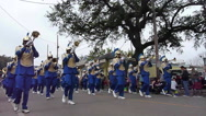 Stock Video Footage of Mardi Gras Day Parade - Blue and gold colored marching band
