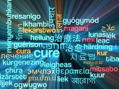 Cure multilanguage wordcloud background concept glowing - stock illustration
